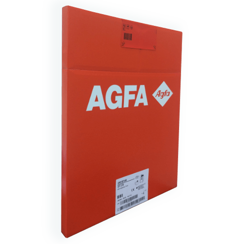 red color packaging of medical film on white background